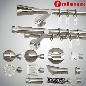 Modern-Gardinenstange-Vorhangstange-19mm-1-laeufig-2-laeufig-Edelstahl-Design-TOP