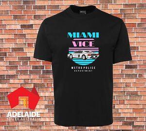 JB-039-s-Black-T-shirt-Miami-Vice-Cool-Retro-80s-TV-Brand-New-Design