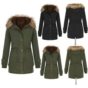 Ladies-Fur-Lined-Coat-Women-039-s-Winter-Warm-Thick-Jacket-Hooded-Overcoat-Outerwear