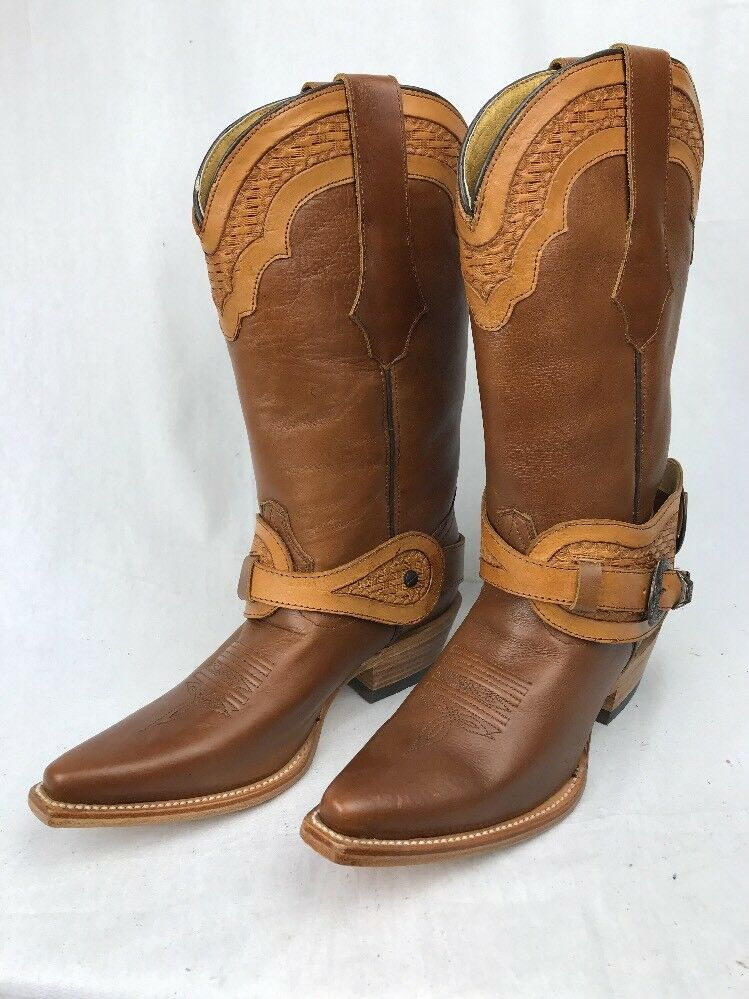 Durango 6018 Crush Brown Leather 12  Spur Strap Western Cowgirl Boots 7M