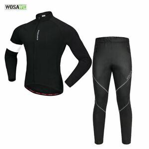 Mens-Warmer-Cycling-Sets-Thermal-Fleece-Windproof-Jersey-Pants-MTB-Road-Bike