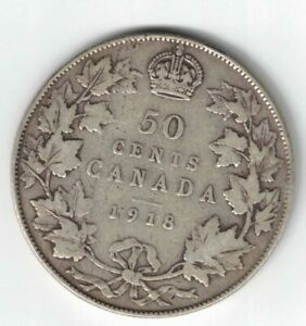 CANADA-1918-50-CENTS-HALF-DOLLAR-KING-GEORGE-V-STERLING-SILVER-CANADIAN-COIN