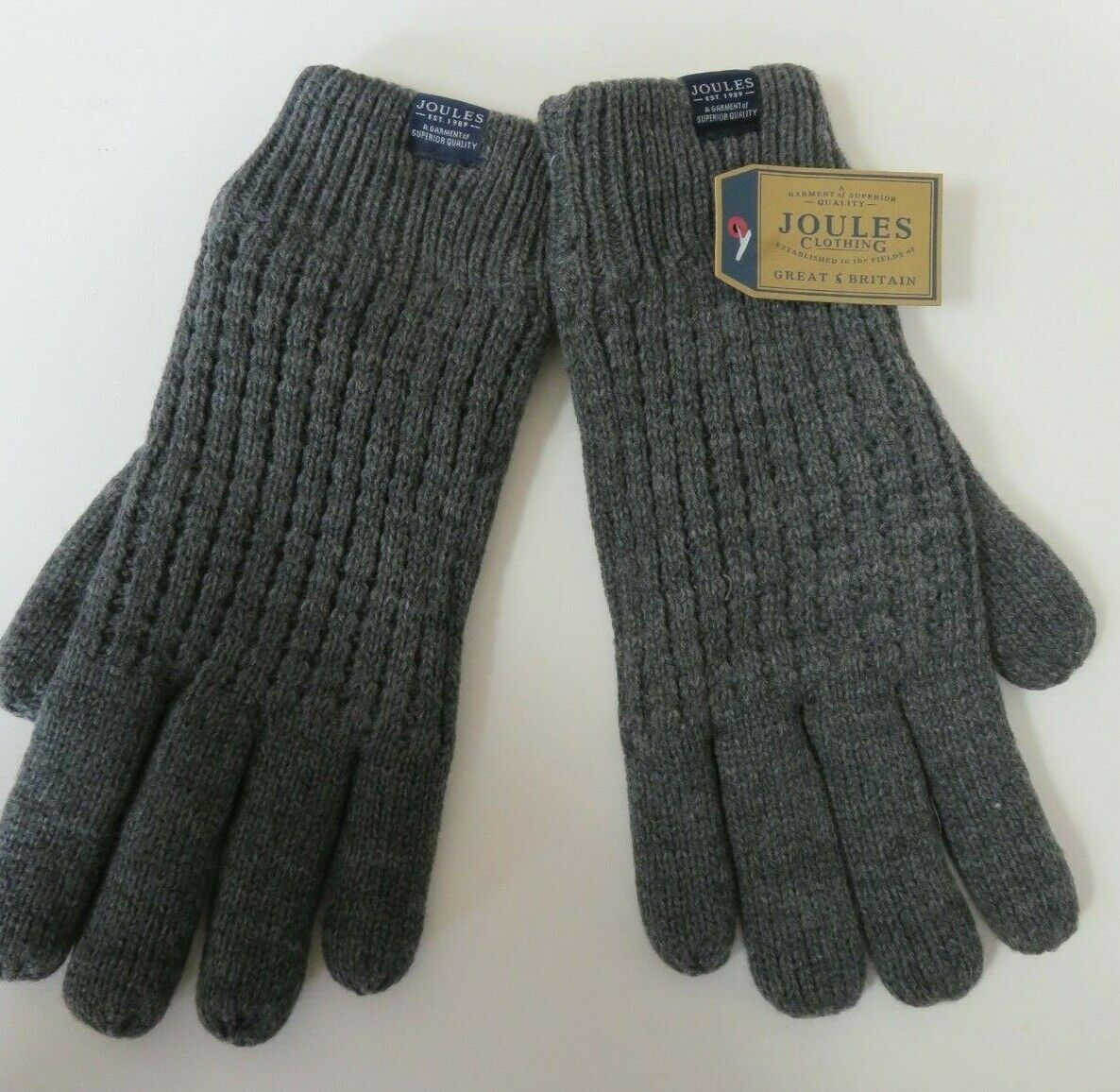 Joules mens thick gloves fleece lining charcoal grey size L/XL NEW warm winter