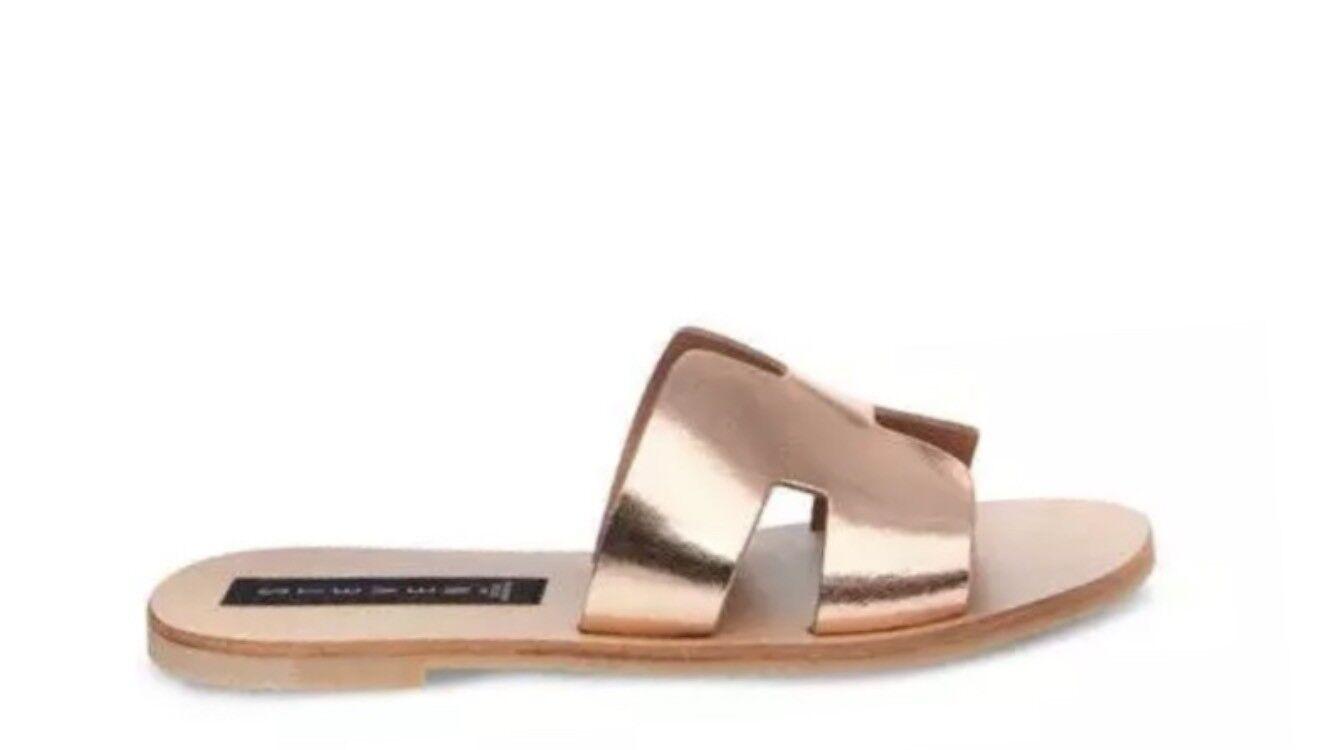 Steven by Steve Madden Greece Flat Sandales Slides Rose Gold Leder Größe 6.5