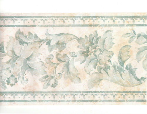 Blue White Toile Watercolor Pastel Floral Flower Leaf Scroll Wall paper Border