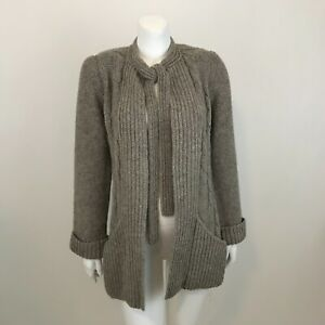 Vintage Marisa Christina Shetland Wool Cable Knit Cardigan Womens M Open Front