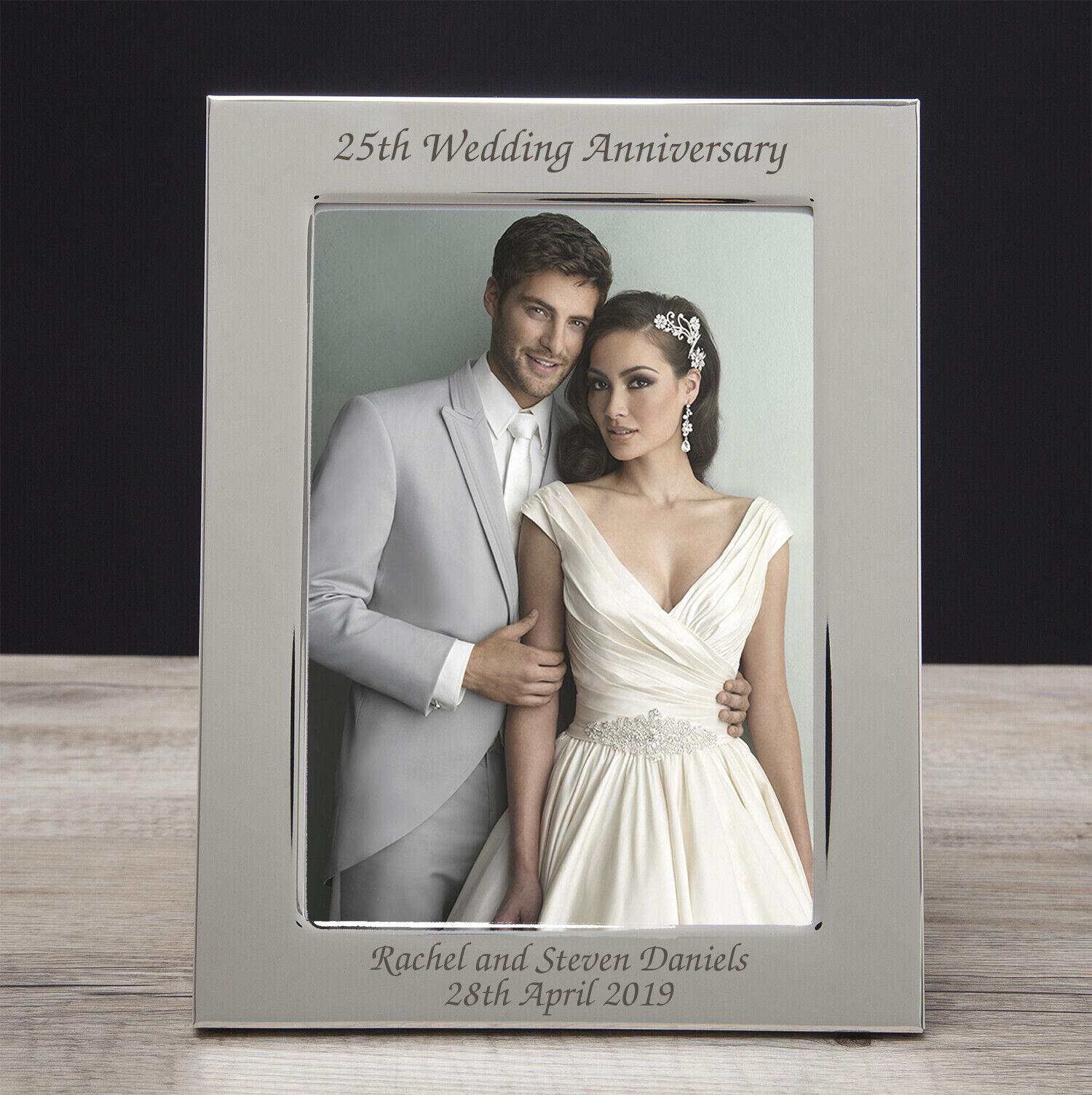 Personalised Engraved Wedding Anniversary Photo Frames Silver Ruby Diamond Gold Ebay