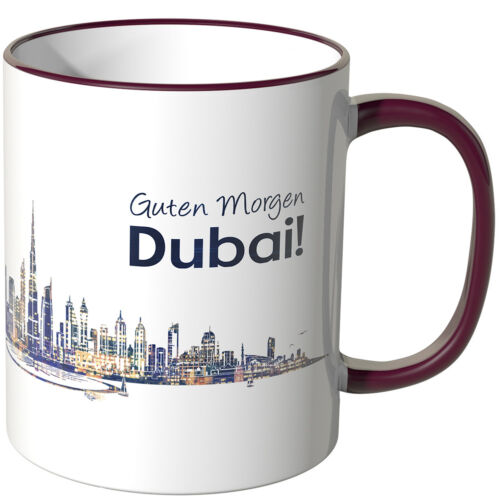 """Wandkings Cup Lettering /""""Good Morning Dubai!/"""" with Skyline at Night"""