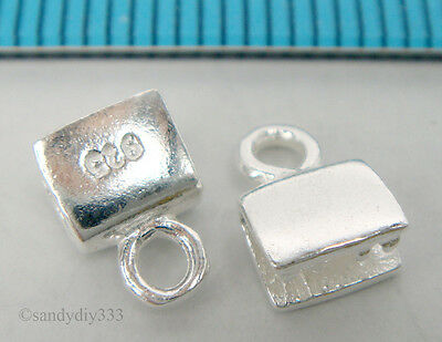 4x BRIGHT STERLING SILVER 4mm cord PLAIN LEATHER END CAP N210