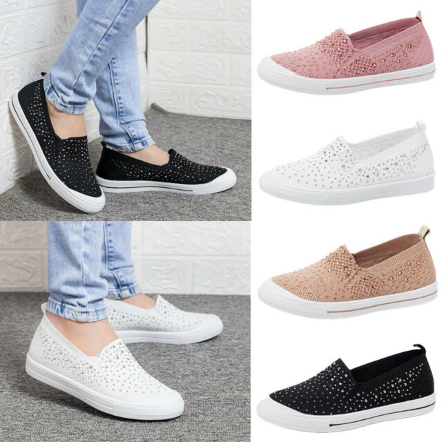 Women Casual Canvas Comfort Shoes Plimsolls Flats Slip On Loafers Sneakers Pumps
