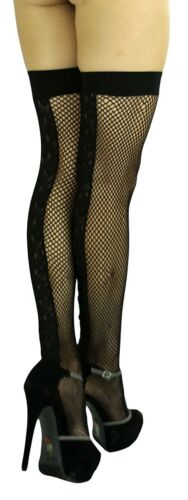 ToBeInStyle Women/'s Embroidered Floral Lace Fishnet Thigh Hi w// Wide Elastic...
