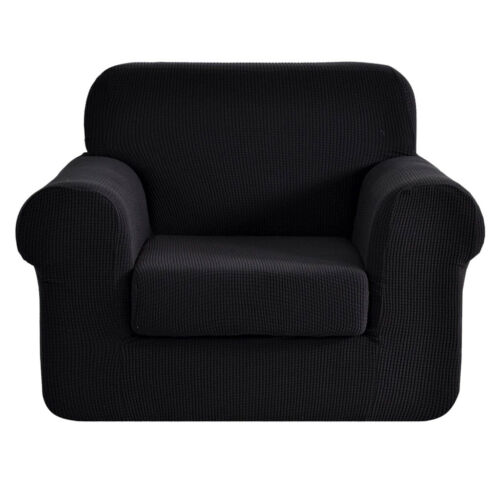 2-Piece Sofa Cover for 1-Seater Protector Stretch Armchair Couch Slipcover