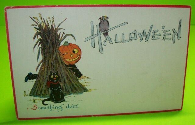 Halloween Postcard Gibson 1912 Vintage Black Cat Goblin Owl Red Border Original