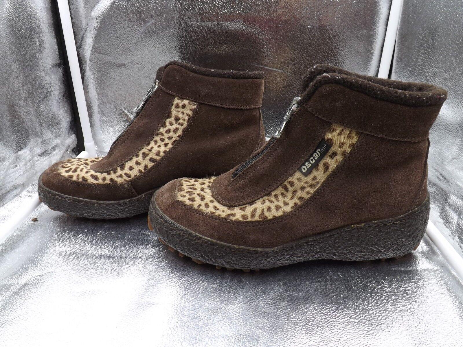 Oscar Sport Leopard Leopard Leopard Print Fur Boots Fully Lined Made in  Women's 9 Eur 40 4db449
