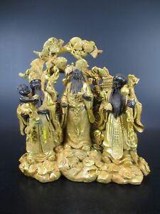Buddha-3er-Figur-19-cm-Polyresin-Buddhismus-Asien-gold-braun