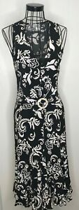 Stunning-JOSEPH-RIBKOFF-Black-and-White-Floral-Knotted-Midi-Long-Dress-UK-8