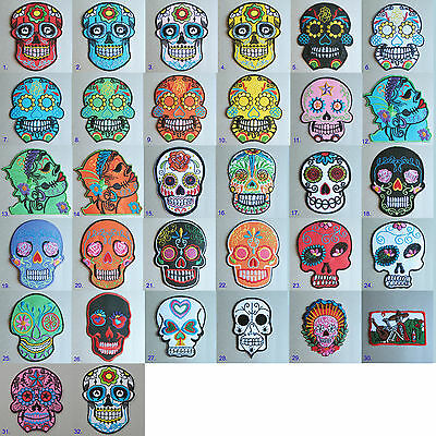 Day of The Dead Sugar Skull Embroidered Iron Sew on Patch #1790