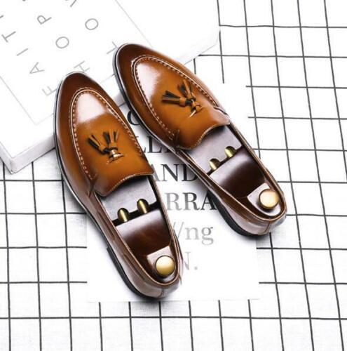 Fashion Men Tassel Slip-On Casual Loafer Leather Driving Shoes Flat Dress Formal