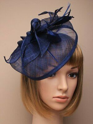 beak clip and pin Teal blue sinamay with feather tendrils large fascinator in