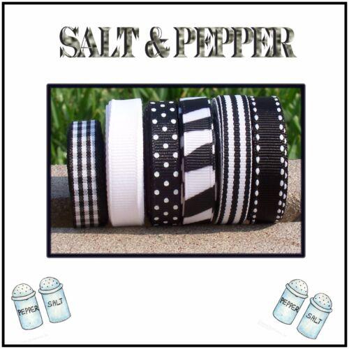 """30 yards 3//8/"""" SALT /& PEPPER BLACK WHITE THEME GROSGRAIN RIBBON LOT"""
