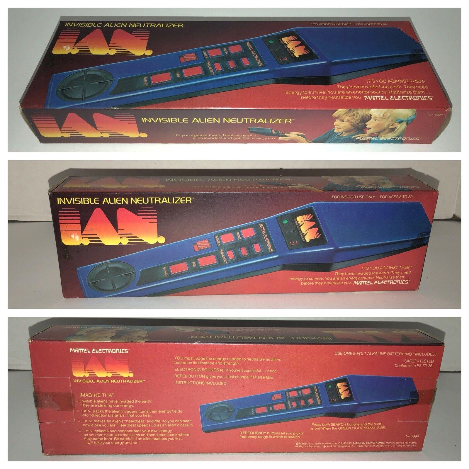 Vintage 1980 invisible Alien Neutralizador Mattel Ian Stock Viejo Nuevo Sellado produjo sólo 10k