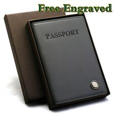 Free Engraving Leather Passport Case GREY ID Card Holder Cover Wallet Mens Women