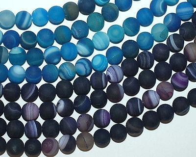 Bandachat matt Perlen Kugeln lila oder blau mit weiß durchzogen 8mm, 1 Strang