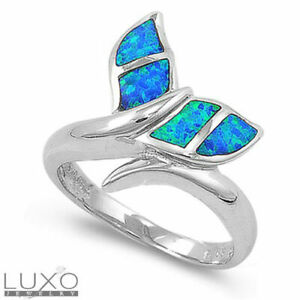 GORGEOUS BLUE OPAL 925 STERLING SILVER RING SIZE 6