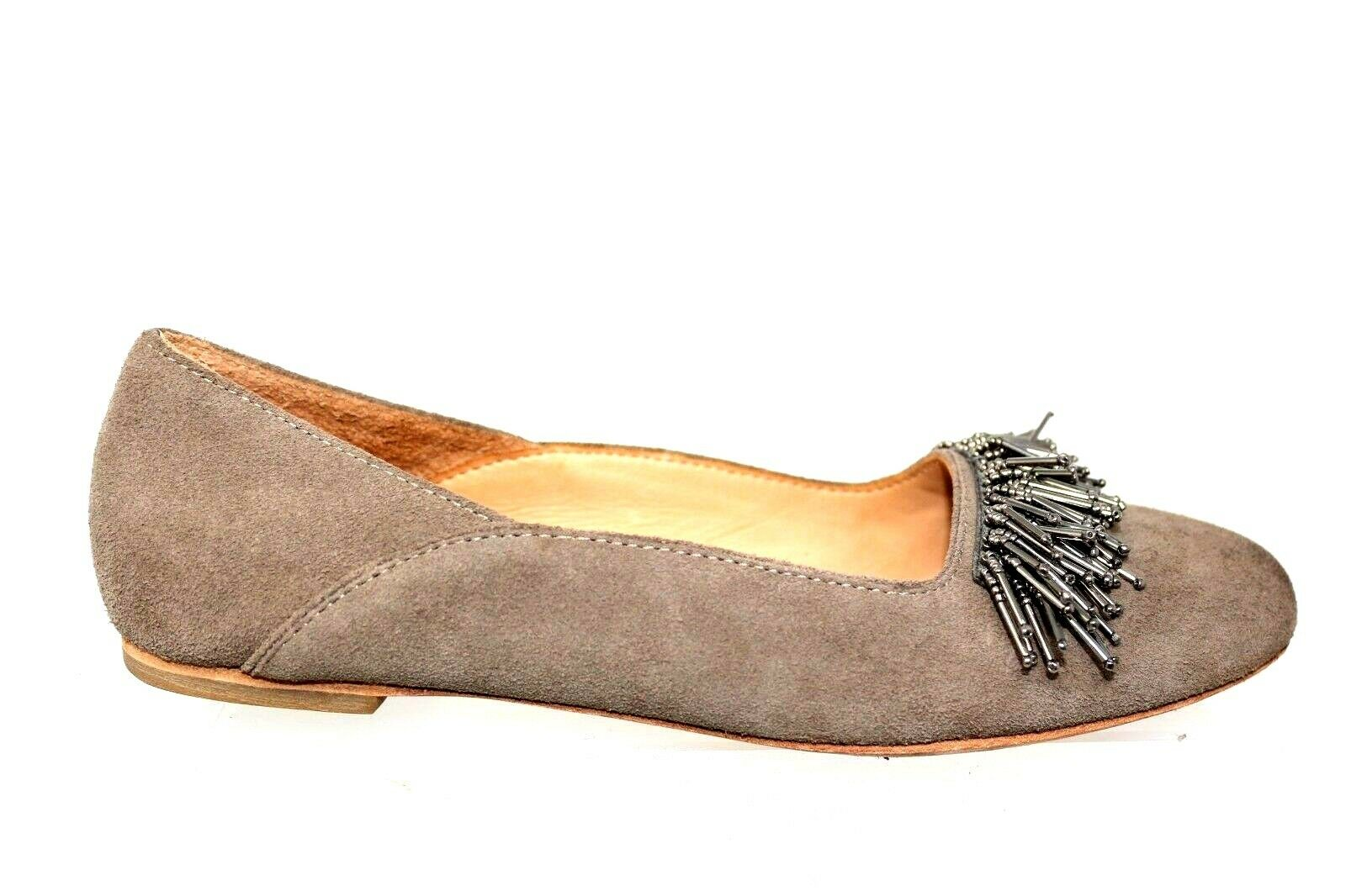 Bill Blass Taupe Suede Silver Fringe Beaded Front Slip On Flat shoes Womens 7.5