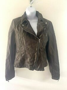 Free People Bronze Brown Faux Leather Moto Jacket Womens Sz 4 Bomber Style