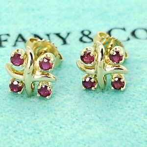 9f241956e Details about Rare Tiffany & Co Schlumberger 18K Yellow Gold Red Ruby Lynn  Earrings