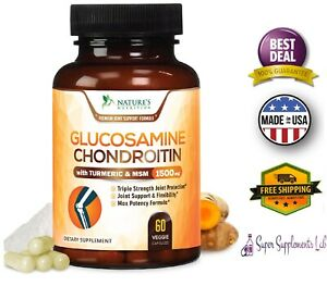 GLUCOSAMINE-CHONDROITIN-MSM-Triple-Strength-w-Turmeric-1500mg-Joint-Pain-Relief