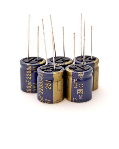 5 x Panasonic Elko radial 2200µf 25v 105 ° cap condensador #706560