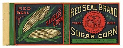 Baker /& Sons Aberdeen MD Carville sugar corn can label C.W