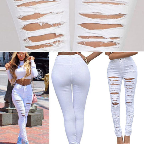 White Denim Skinny Ripped Pants High Waist Stretch Jeans Long Pencil Trousers OS