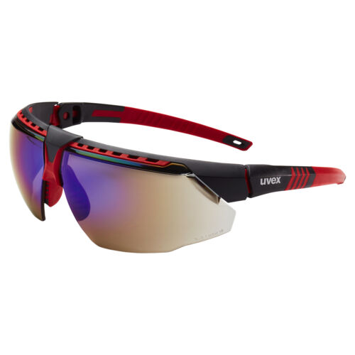 Uvex Avatar Safety Glasses with Blue Mirror Lens Red Frame