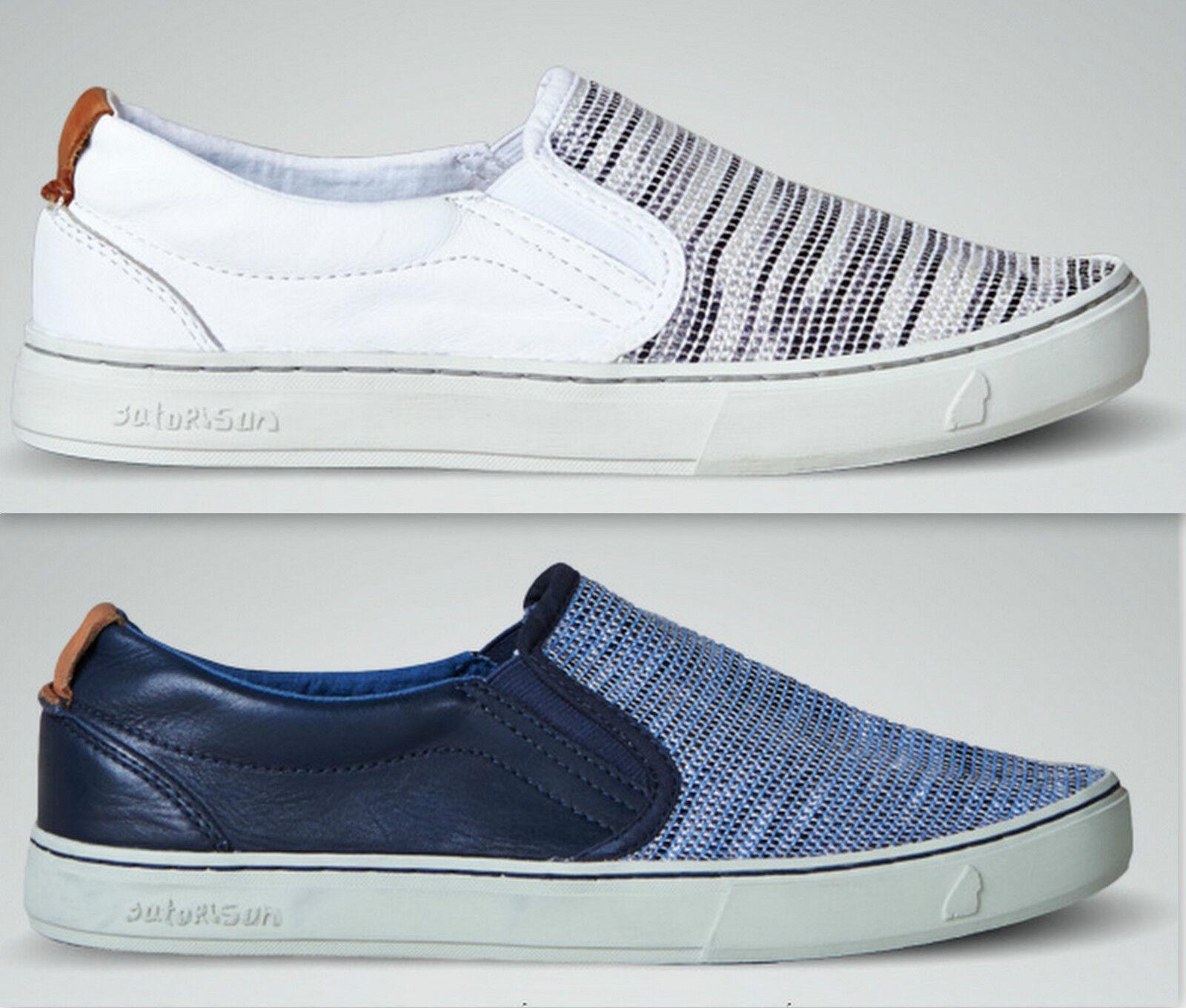 Satorisan Soumei Slip on bianco e blu Scarpe classiche da uomo
