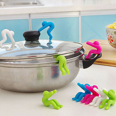 2*Heat Resistant Cooking Gadget Pot Spill-proof Lid Silicone Holder Kitchen Tool