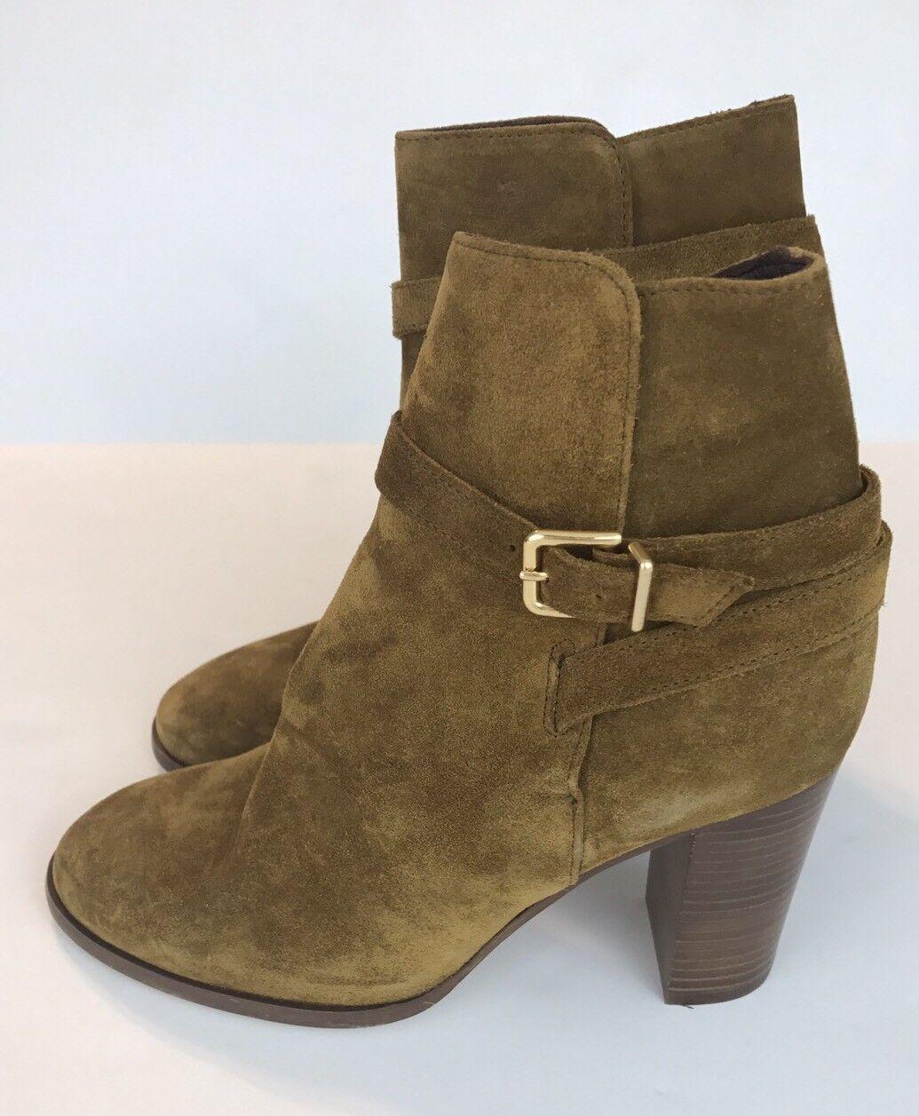 New J.CREW Suede Ankle Stivali with Wraparound Buckle F8008 Brown Size 7