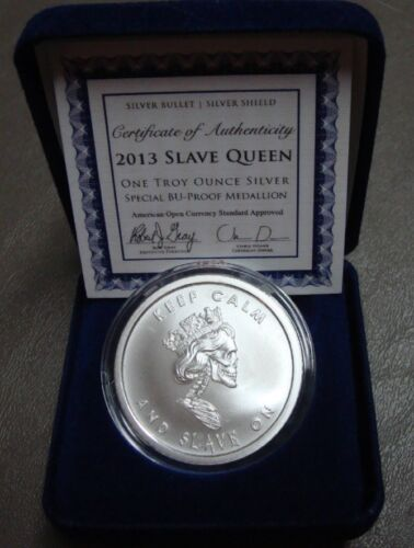 RARE 1 OZ SBSS Silver Shield 2013 SLAVE QUEEN SPECIAL BU PROOF W// COA /& Blue Box