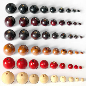 Wholesale Natural Round Wood Spacer Wooden Beads Jewelry Finding 8 Size U Pick