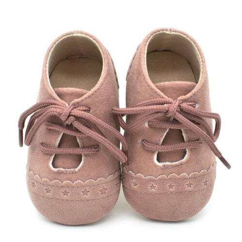 0-18Months Toddler Baby Girl Crib Shoe Anti-Slip Soft Sole Lace Up Sneaker Shoes