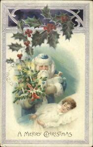 Christmas-Santa-Claus-Blue-Coat-Sleeping-Child-c1910-Postcard