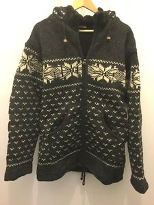 New-Mens-Woolen-Hippie-BoHo-Knit-Cardigan-with-Fleece-Lining-and-Hood-3-sizes