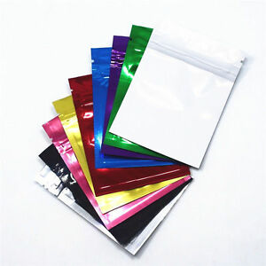 100 Pcs Colorful Glossy Flat Zip lock Aluminum Food Zipper Bags Smell Proof Bags
