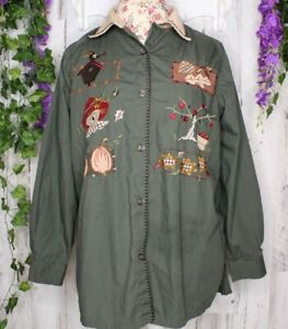 Bobbie-Brooks-14W-16W-Embroidered-Appliqued-Fall-Theme-Blouse-Women-039-s-Shirt