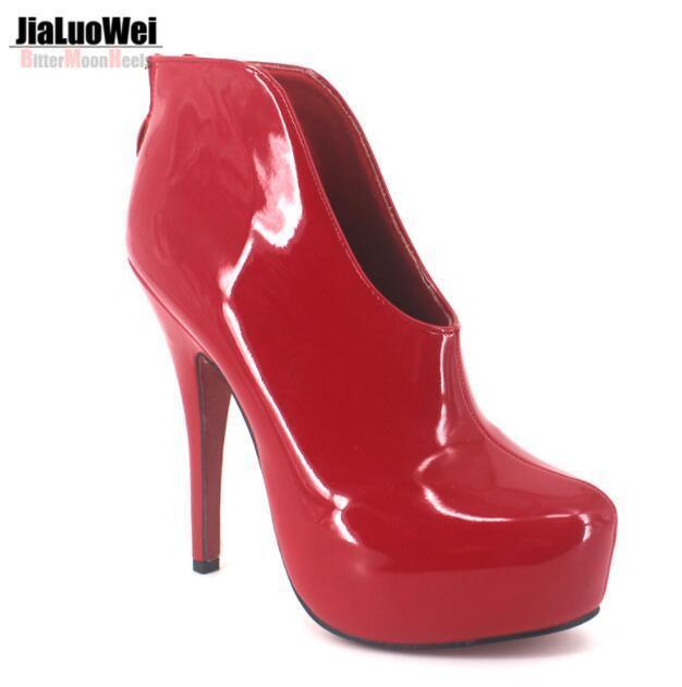 Femme 15 cm Bottines Talons Aiguilles Talon Haut Chaussures Mariage Cuir Verni Oxford