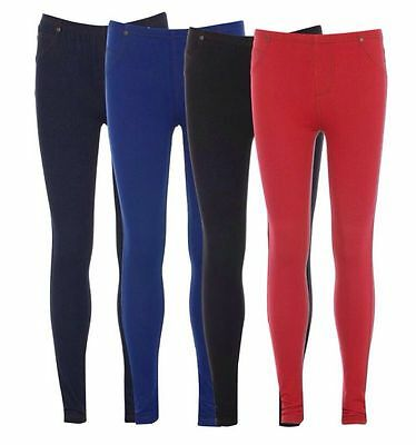 Kenntnisreich Girls Women Ladies Denim Jeans Look Stretch Jeggings Skinny Leggings Sizes 8-26