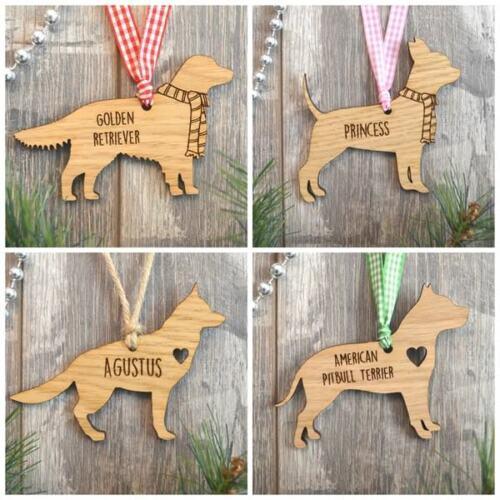 Personnalisé chien cadeau en bois babioles de Noël souvenir-Toutes races