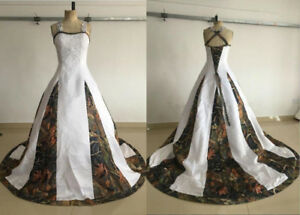 Real Photo White Camo Wedding Dress Bridal Gown Lace Western Country
